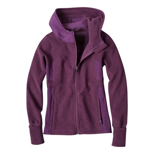 Womens Prana Drea Jacket Warm-Up Hooded Jackets - Dark Plum L