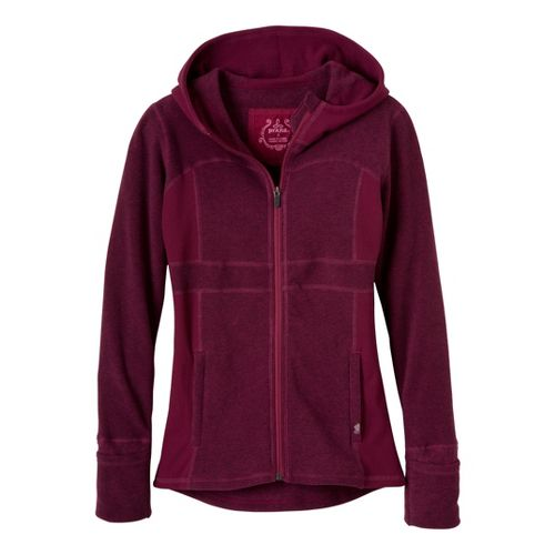 Womens Prana Drea Jacket Warm-Up Hooded Jackets - Plum Red XS
