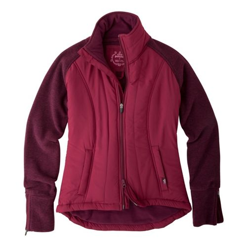 Womens Prana Audrina Warm-Up Unhooded Jackets - Pomegranate XS