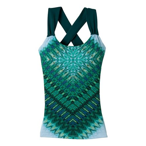 Womens Prana Phoebe Sport Top Bras - Deep Turquoise/Print XS