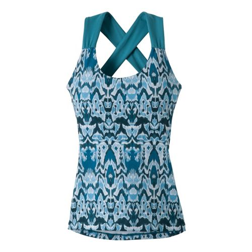 Womens Prana Phoebe Sport Top Bras - Glacier Blue Ikat XS