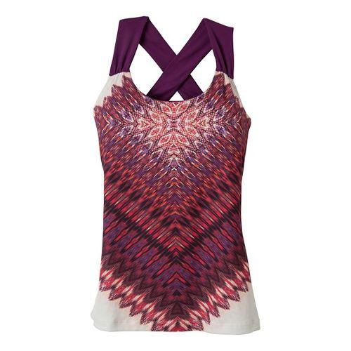 Womens Prana Phoebe Sport Top Bras - Plum Red/Print XS