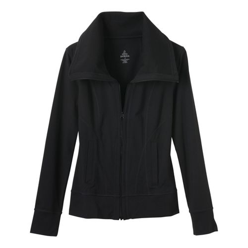Womens Prana Cori Warm-Up Unhooded Jackets - Black XS