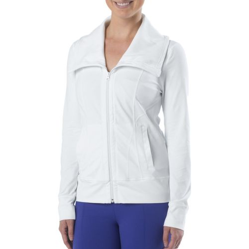 Womens Prana Cori Warm-Up Unhooded Jackets - White XL