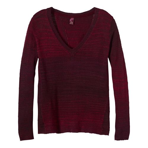 Womens prAna Juliana Sweater Long Sleeve Technical Tops - Red L