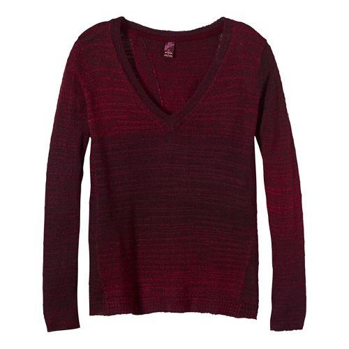 Womens prAna Juliana Sweater Long Sleeve Technical Tops - Red S