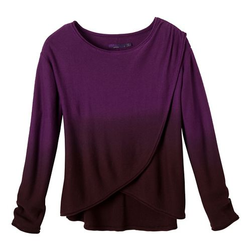 Womens Prana Juliana Sweater Long Sleeve No Zip Technical Tops - Red Violet XL