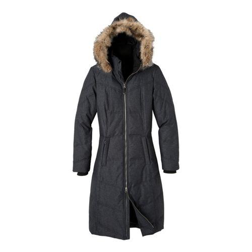 Womens Prana Ronnie Down Warm-Up Hooded Jackets - Black Heather L