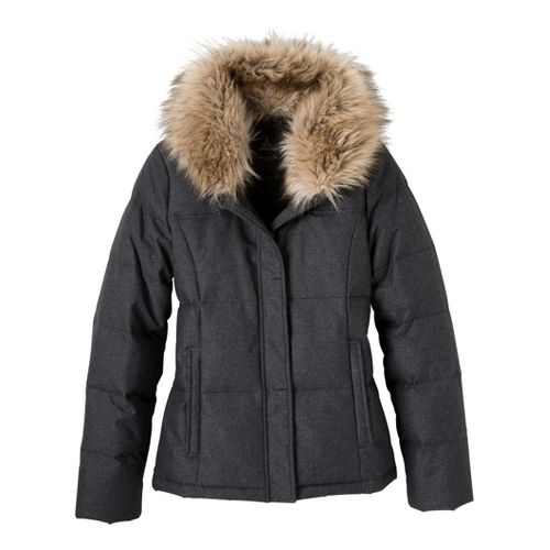 Womens Prana Jasmine Down Jacket Warm-Up Hooded Jackets - Black Heather XS