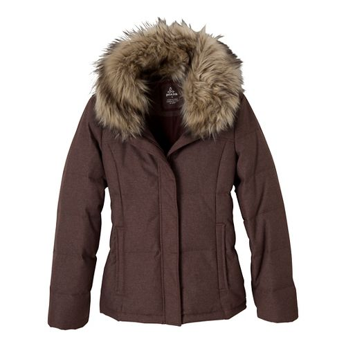 Womens Prana Jasmine Down Jacket Warm-Up Hooded Jackets - Mahogany S