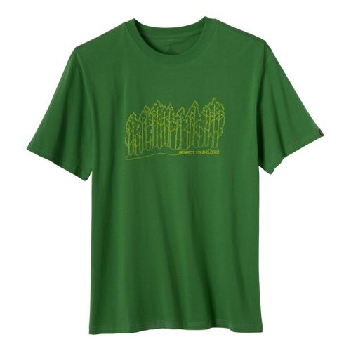 Mens Prana Tree Line T Short Sleeve Non-Technical Tops - Deep Jade L