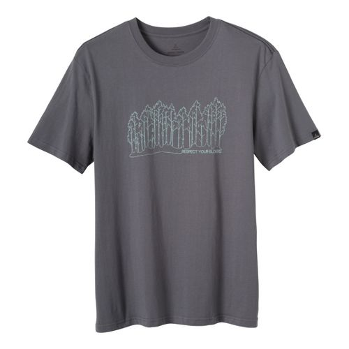 Mens Prana Tree Line T Short Sleeve Non-Technical Tops - Gravel XXL