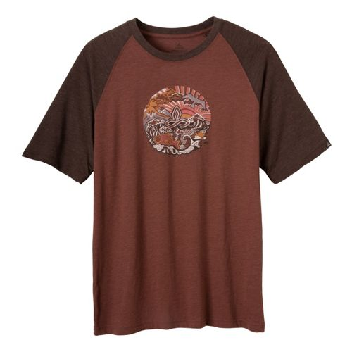 Mens Prana Ecuador T Short Sleeve Technical Tops - Terracotta S