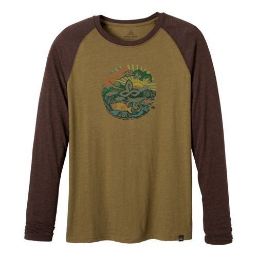 Mens Prana Ecuador Long Sleeve No Zip Technical Tops - Moss L