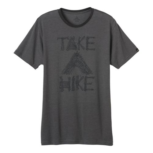 Mens Prana Take A Hike T Short Sleeve Technical Tops - Charcoal XL