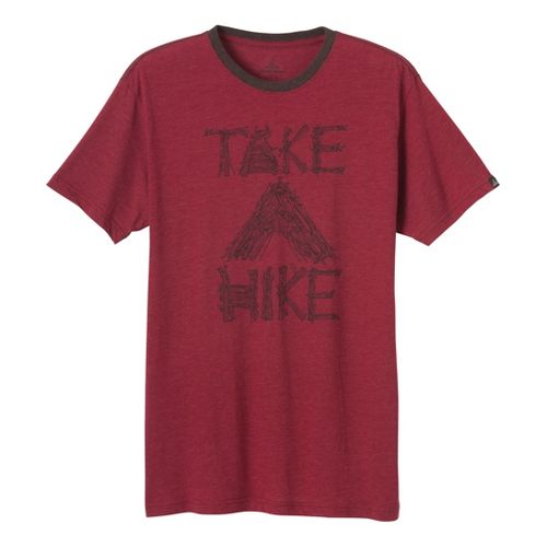 Mens Prana Take A Hike T Short Sleeve Technical Tops - Red Rock M