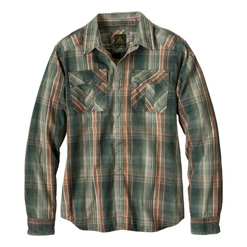 Mens Prana Midas Long Sleeve Non-Technical Tops - Pine Needle L