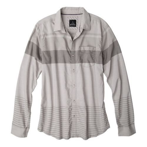 Mens Prana Malone Long Sleeve Non-Technical Tops - Grey XL