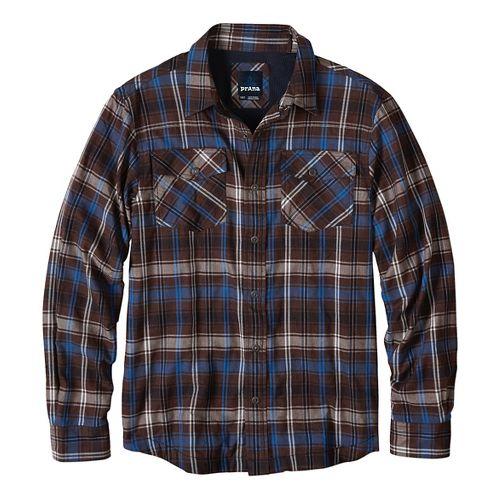 Mens prAna Asylum Flannel Long Sleeve Non-Technical Tops - Brown M