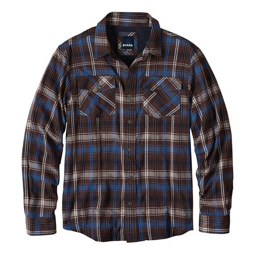 Mens prAna Asylum Flannel Long Sleeve Non-Technical Tops - Brown S