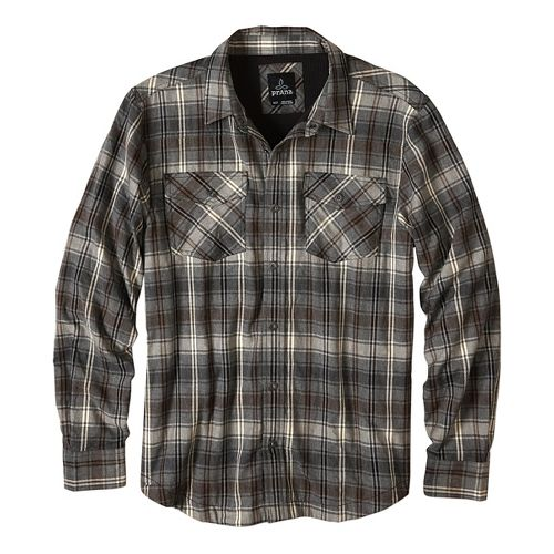 Mens prAna Asylum Flannel Long Sleeve Non-Technical Tops - Cargo Green L