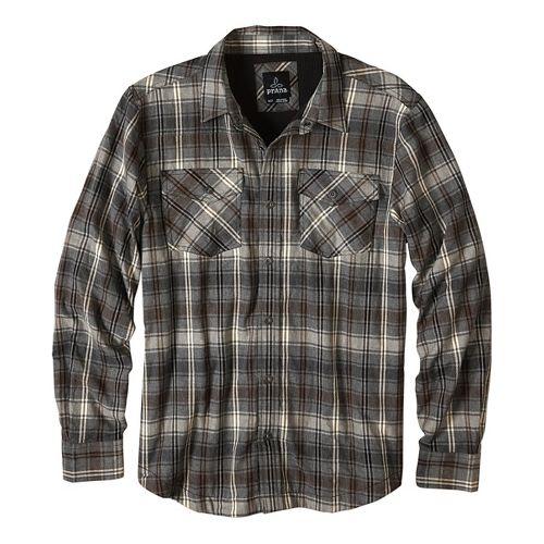 Mens prAna Asylum Flannel Long Sleeve Non-Technical Tops - Green S