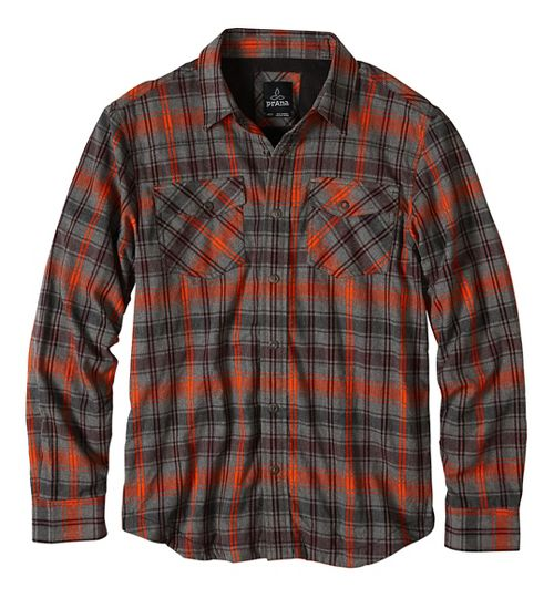 Mens prAna Asylum Flannel Long Sleeve Non-Technical Tops - Red S