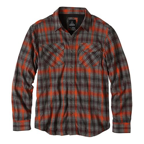Mens prAna Asylum Flannel Long Sleeve Non-Technical Tops - Red XL