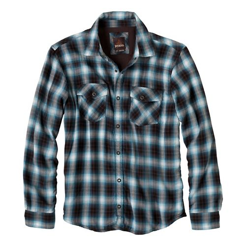 Mens Prana Asylum Flannel Long Sleeve Non-Technical Tops - Blue Ash XL