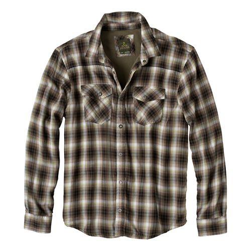 Mens Prana Asylum Flannel Long Sleeve Non-Technical Tops - Cargo Green XL