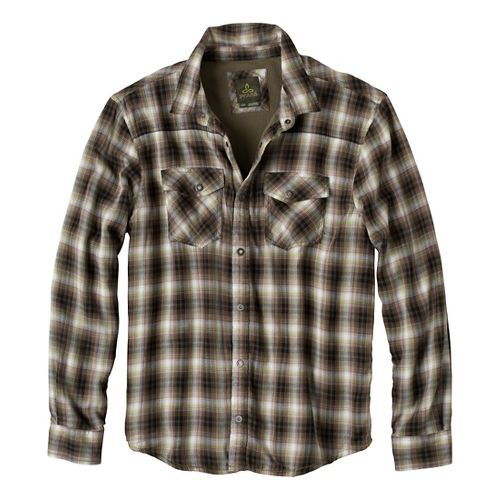 Mens prAna Asylum Flannel Long Sleeve Non-Technical Tops - Cargo Green XXL