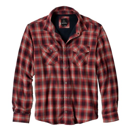 Mens Prana Asylum Flannel Long Sleeve Non-Technical Tops - Mahogany L