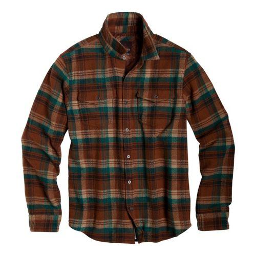 Mens Prana Ryken Flannel Long Sleeve No Zip Technical Tops - Aubergine S