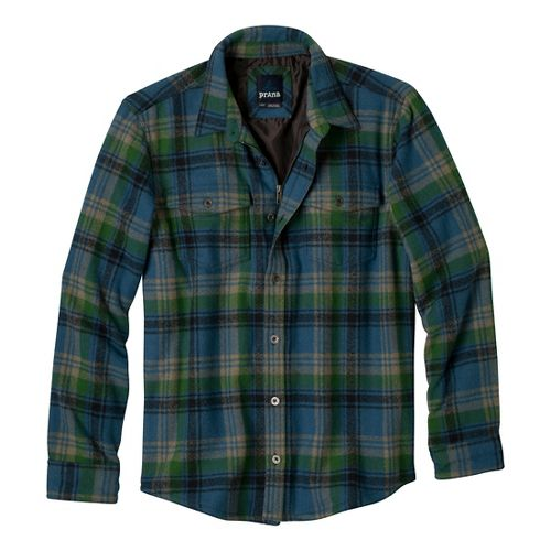Mens Prana Ryken Flannel Long Sleeve No Zip Technical Tops - Blue Ash XL
