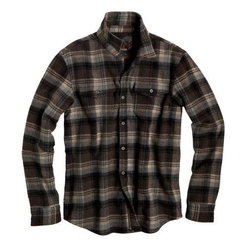 Mens Prana Ryken Flannel Long Sleeve No Zip Technical Tops - Brown S