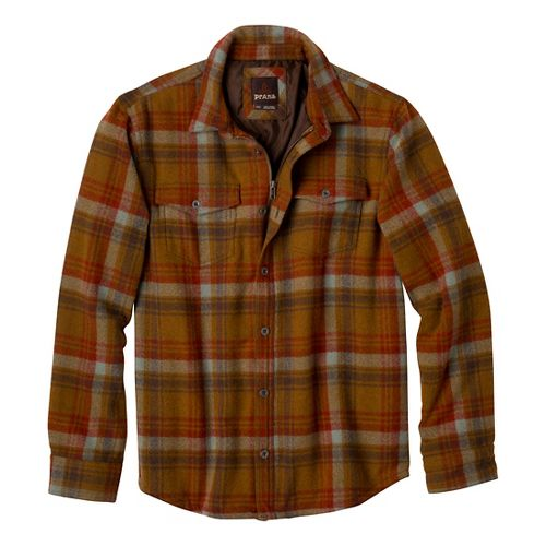 Mens Prana Ryken Flannel Long Sleeve No Zip Technical Tops - Dark Ginger M