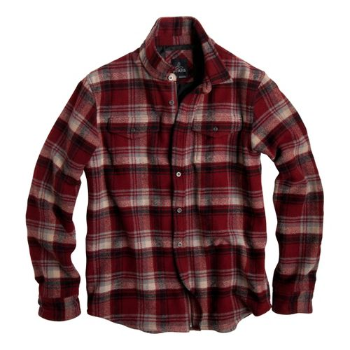 Mens Prana Ryken Flannel Long Sleeve No Zip Technical Tops - Red XXL