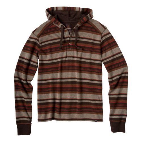 Mens Prana Dolton Hoodie Warm-Up Hooded Jackets - Brown XL