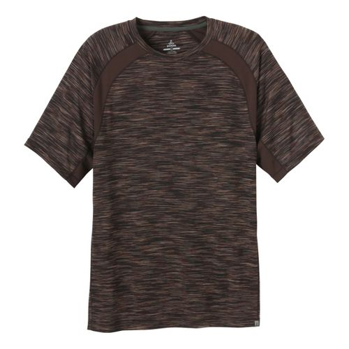 Mens Prana Andy Short Sleeve Technical Tops - Brown L