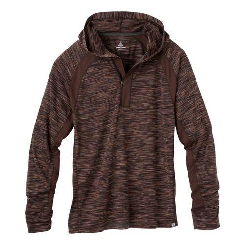 Mens Prana Andy Long Sleeve No Zip Technical Tops - Brown XL