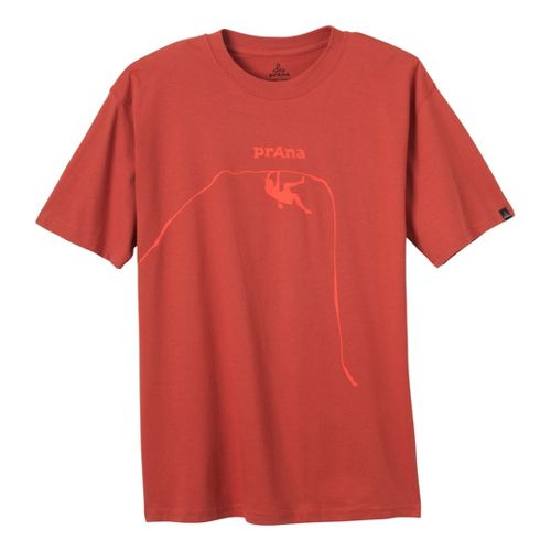 Mens Prana Solo T Short Sleeve Technical Tops - Indian Red S