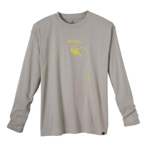 Mens Prana Solo Long Sleeve No Zip Technical Tops - Grey XXL
