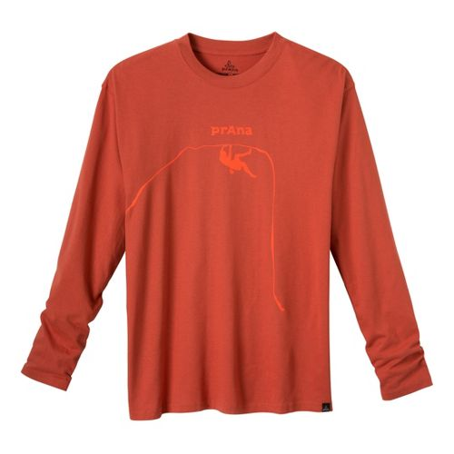 Mens Prana Solo Long Sleeve No Zip Technical Tops - Indian Red XXL