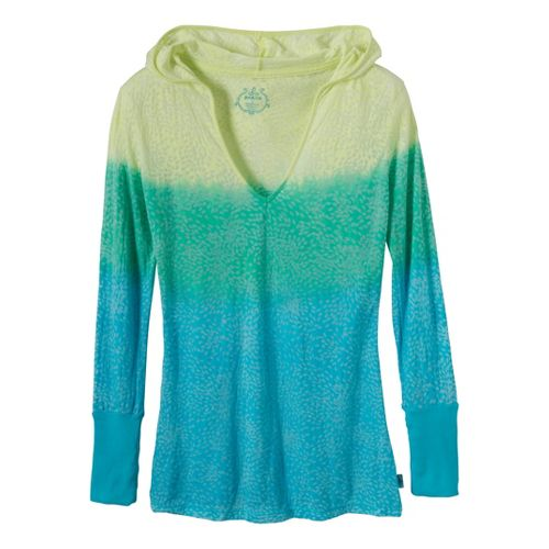 Womens Prana Julz Hoodie Long Sleeve No Zip Technical Tops - Baja Blue M