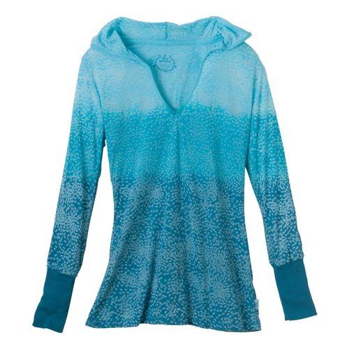 Womens Prana Julz Hoodie Long Sleeve No Zip Technical Tops - Ink Blue L