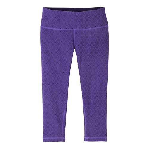 Womens prAna Misty Knicker Capris Tights - Violet Jacquard XL