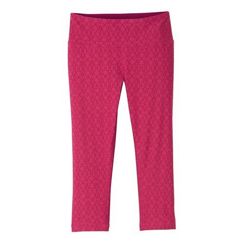 Womens prAna Misty Knicker Capris Tights - Azalea Jacquard XL