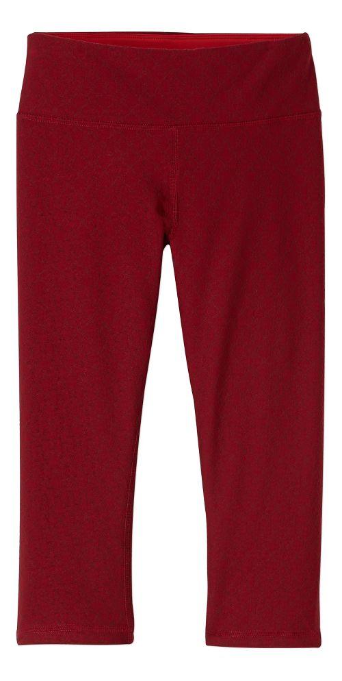 Womens prAna Misty Knicker Capris Tights - Red M