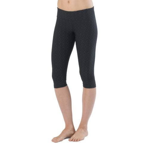 Womens prAna Misty Knicker Capris Tights - Black Jacquard S