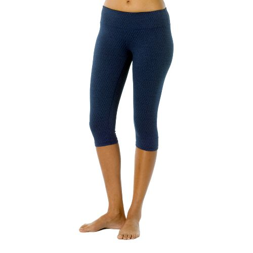 Womens Prana Misty Knicker Capri Tights - Blue Twilight/Diamond L